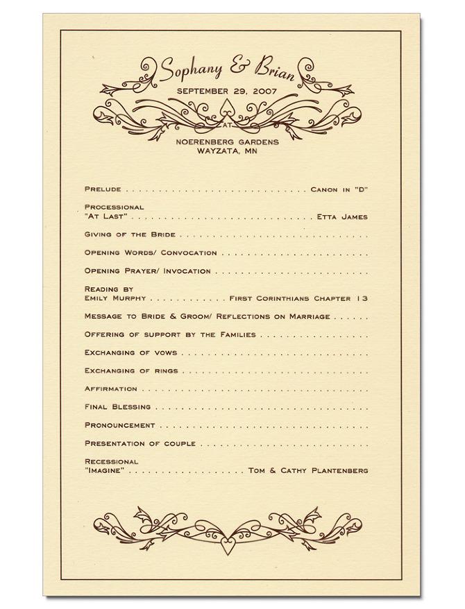 wedding program derek w veigel